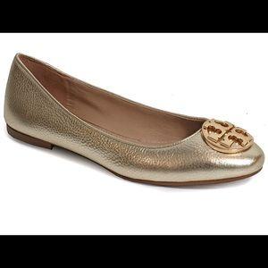 Tory Burch Metallic Gold Claire Ballet Flats